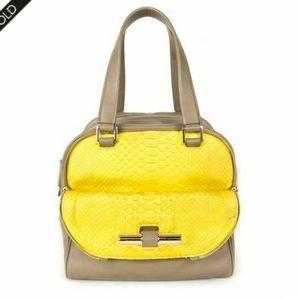 NWOT Jimmy Choo Justine Bag Taupe + Yellow Python
